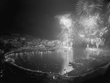 Fireworks Bursting over the Port of Monaco Photographic Print