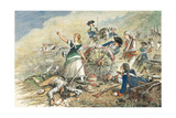 Color Engraving of Molly Pitcher at the Battle of Monmouth Giclee Print