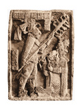 Mayan Stone Relief of Xoc Performing a Blood-Letting Ritual Reproduction procédé giclée