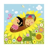 The Image of Children Playing on the Yellow Sunflower Giclee Print by  TongRo