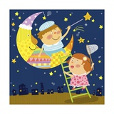 The Image of Children Playing with Moon and Star Giclee Print by  TongRo