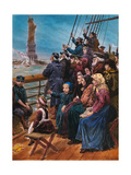 Jewish Immigrants on Ship near Statue of Liberty Giclee Print