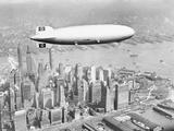 Hindenburg Flying over Lower Manhattan Photographic Print