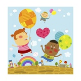 The Image of Children Flying with Colorful Balloon Giclee Print by  TongRo