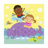 The Image of Children Playing with Purple Colored Whale Giclee Print by  TongRo