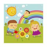 The Image of Children Playing in the Garden with Rainbow Giclee Print by  TongRo