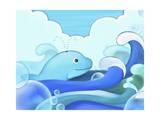 The Image of Blue Whale with Wave Giclee Print by  TongRo