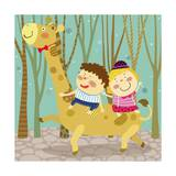The Image of Children Riding on the Giraffe Giclee Print by  TongRo