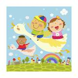 The Image of Children Flying on the Bird Giclee Print by  TongRo
