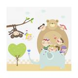 Kids Going Zoo Giclee Print by  TongRo