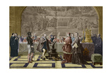 Illustration of Galileo Galilei before the Inquisition Giclee Print by Stefano Bianchetti