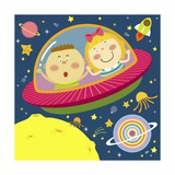 The Image of Children Riding on the Spaceship Giclee Print by  TongRo