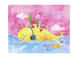 The Image of Town on Whale Listening to Music Giclee Print by  TongRo