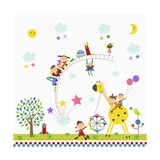 Happy Children in Amusement Park Giclee Print by  TongRo