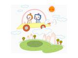 A Robot Couple in a Flying Car Giclee Print by  TongRo