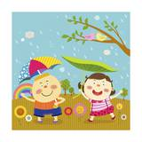 The Image of Children Playing with Umbrella in the Rain Giclee Print by  TongRo