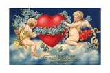 To My Valentine Postcard with Two Cupids Giclee Print by David Pollack