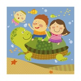 The Image of Children Playing with Sea Creature Giclee Print by  TongRo