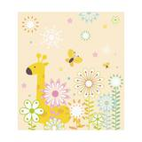 Flowers and Giraffe Giclee Print by  TongRo
