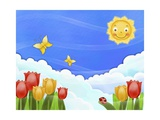 The Image of Smiling Sun, Butterfly, Tulip, and Blue Sky Giclee Print by  TongRo