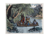19Th-Century Illustration of Native Americans Fishing from a Canoe Giclee Print by Stefano Bianchetti