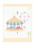 The Image of Pink Amusement Park Rides Giclee Print by  TongRo