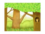 The Image of Squirrel in the Trunk of Tree Giclee Print by  TongRo