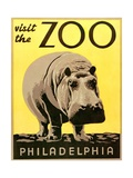 Visit the Zoo Poster with Hippopotamus Giclee Print
