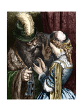 Engraving of Bluebeard Entrusting His Keys to His Wife by Gustave Dore Giclee Print by Stefano Bianchetti