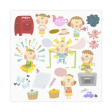 Various Images of Kid Doing Different Activity Giclee Print by  TongRo