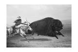 Indian Trying to Kill Buffalo Giclee Print