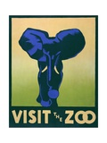 Visit the Zoo Poster with Elephant Giclee Print