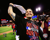 Yadier Molina celebrates winning Game 4 of the 2014 National League Division Series Photo