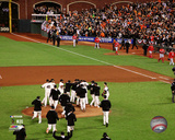 The San Francisco Giants celebrate winning Game 4 of the 2014 National League Division Series Photo