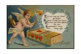 Valentine's Day Postcard with Cupid and Matches Giclee Print by Mark Rykoff
