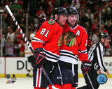 Marian Hossa & Patrick Sharp 2014 Action Photo