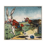 Easter Rabbit and Chicken Illustration on Egg Dye Packaging Giclee Print by Jennifer Kennard