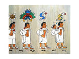 Illustration of Aztec's Migrating to the Valley of Mexico Giclee Print by Gianni Dagli Orti