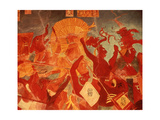Replica of Mayan Fresco Showing a Battle Scene Giclee Print by Gianni Dagli Orti