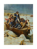 Illustration of George Washington and Men on Frozen Potomac Giclee Print