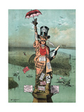 Cartoon, Statue of Liberty with Advertising Giclee Print