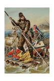 Character from Robinson Crusoe Riding on Raft Giclee Print