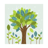 A Large Tree in the Center and Small Trees Giclee Print by  TongRo