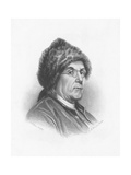 Portrait of Benjamin Franklin Wearing a Fur Hat Giclee Print