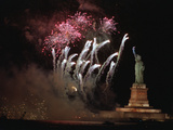 Fireworks Exploding near Statue of Liberty Photographic Print