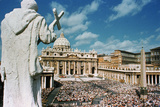 Statue Overlooking St. Peters Square Photographic Print