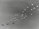 Parachutes and Military Planes in the Sky Photographic Print