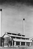 Power Plant with Two Smokestacks Photographic Print