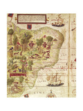 Map of Brazil, from Miller Atlas by Pedro and Jorge Reinel, Lopo Homen Giclee Print