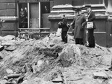 Winston Churchill Inspecting a Bomb Crater in London, 10th September 1940 Photographic Print